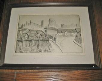 """Vintage Framed Ink Drawing CORFE CASTLE & village by D. Waeter 5/74 matted 10"""" x 13"""" frame"""