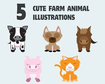 Cute animal clipart, Baby animal clip art, Vector art, Colorful clipart, Commercial use, Royalty free clip art, Stock illustration
