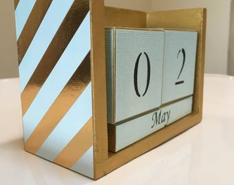 Striped Calendar - Perpetual Calendar - Gold Calendar - Turquoise Stripes - Desk Calendar - Block Calendar - Gift For Her - Office Gift