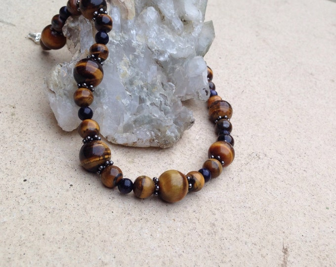 Tiger Eye Necklace, Tiger Eye and Blue Sunstone Necklace with gun metal spacer beads, Tiger Eye and sunstone Jewellery, 12mm 8mm tiger eye
