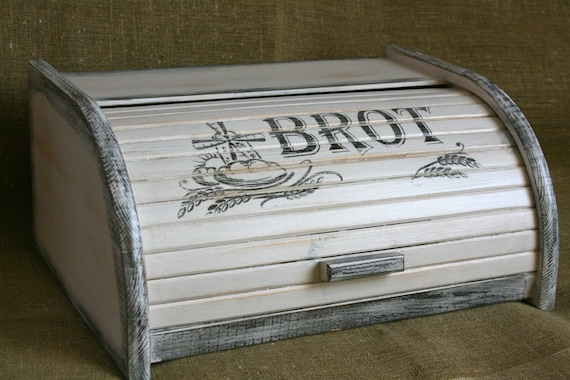 vintage bread box bread bin brot brotkasten distressed. Black Bedroom Furniture Sets. Home Design Ideas