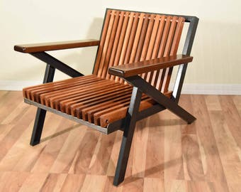 Ipe Z Chair made with copper, steel and ipe flooring, handmade, one of a kind, mid century modern chair,