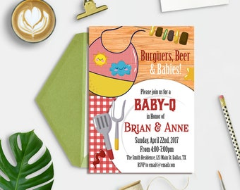 Couples Baby Shower BBQ Invitation, Baby Shower Backyard Barbecue Invitation, BaByQ Invitation, Baby BBQ Invitation, Coed baby shower