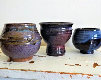 Colorful Vintage Studio Pottery Trio High Fire Glaze in Beautiful Blues and Purples