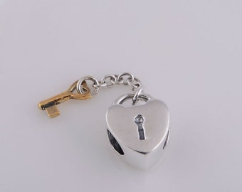 New 925 Sterling Silver and gold plated Key to my heart charm