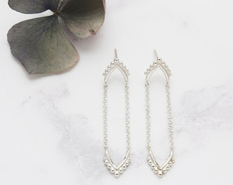 Delicate Silver Drop Chain Earrings