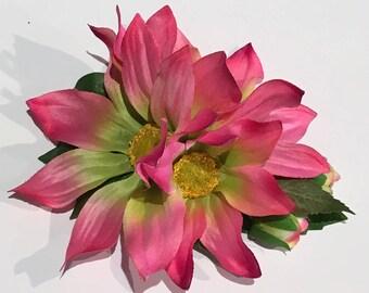 Pink Tutti Fruiti Aster Daisy Arrangement Hair Flower Clip