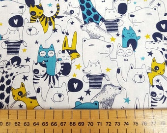 Bear and Friends in Teal and Mustard - Sevenberry fabric Fat Quarters 100% cotton quilting dressmaking UK Shop