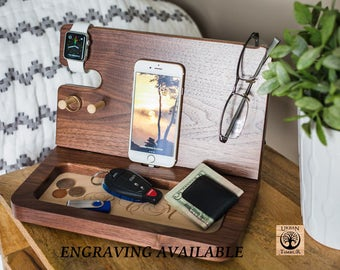 Personalized Gifts, MENS PERSONALIZED, Iphone dock, Iphone docking station, wooden docking station, Mens organizer, Gifts For Him