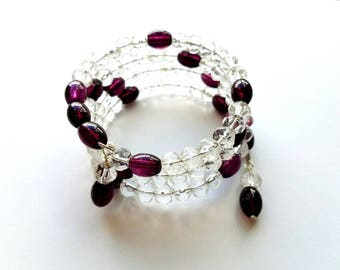 Memory Wire Bracelet with Vintage Fauceted Glass Beads and Purple Glass Beads