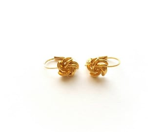 Vintage Gold Pinwheels Pierced Earrings