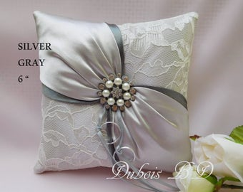 wedding ring bearer pillow, Silver/Gray ring bearer pillow, 6 inches ring pillow, Lace ring bearer pillow, Silver ring pillow