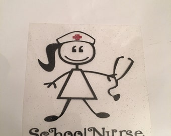 Iron on nurse decal / stick person Decal / stick figure iron on / iron on decal / iron on