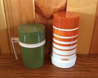 Green Thermos Jar - Orange Striped Thermos - Thermos Vacuum Jar - Thermos - Vintage Thermos