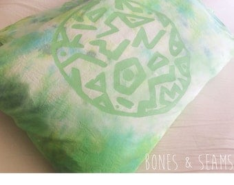 Organic Cotton Pillowcases -  Constellations Aurora Green | Stars | Constellations | Pattern | handprinted | lime green | eco friendly