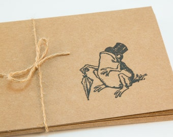 Sophisticated Frog Blank Cards Set of 5 Folded hand stamped teacher gift stocking stuffer