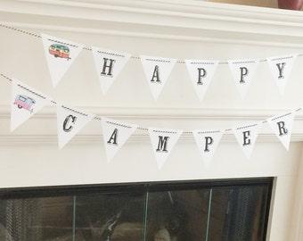 Happy Camper Banner Pennant Handmade Retro Old School Caravan Camper Trailer