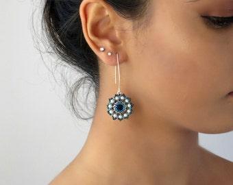 Long silver earrings, Blue earrings, Blue dangle earrings, Blue crystal earrings, Flower dangle earrings, Dark blue earrings, Floral earring