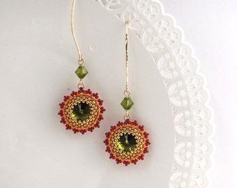 Green dangle earrings, Green crystal earrings, Long earrings, Green earrings, Green gold earrings, Gold crystal earrings, Womens jewelry