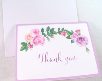Wedding Thank You Cards with Watercolor Roses in Pink Blush, blank on the inside, set of 12
