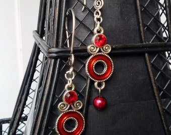 Red and Silver Dangle Earrings with Sterling Hooks
