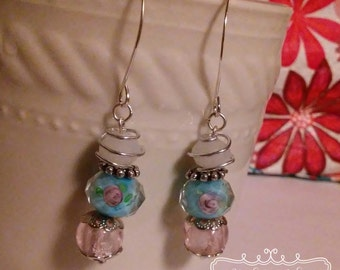 Shabby Chic Silver and Rose Hand Wired Earrings