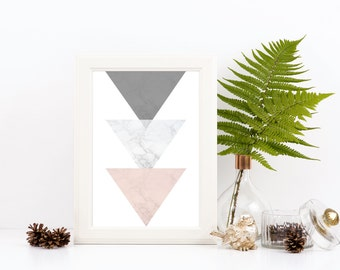 Geometric Triangle Print. Marble Effect Print. Modern Art. Blush Pink, White and Grey Marble Effect.