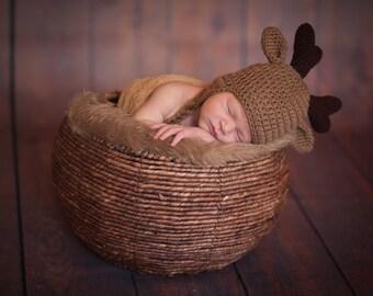 Deer Hat / Baby Winter Hat / Crochet Deer Hat with Antlers / Halloween Costume / Infant Photo Prop / Made to Order