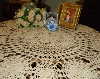 Beautiful Vintage, Handmade Ecru Crochet Lace, 54 Inch, Round Tablecloth, Weddings,  Tabletopper