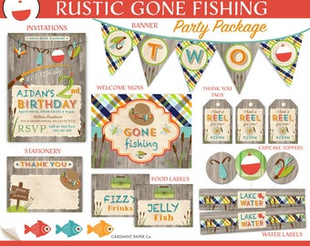 Fishing birthday etsy for Fishing first birthday