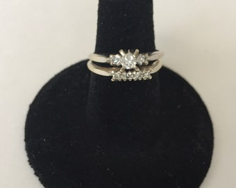Vintage 14 K White Gold and Diamond Engagement and Wedding rings