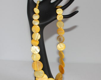 Vintage Yellow Pearl Flat Round Shell Necklace