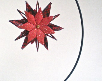 Red Blossom Paper Star with Ornament Stand