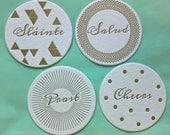 Letterpressed Holiday Coasters - Set of 12