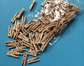 100 mini wooden pegs, natural wood spring clothes pegs, wedding decor, model making, card making, photo clips, bookmark, card holders