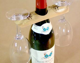 Bamboo customizable (laser engraving) holder for wine glasses on bottle