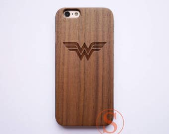 Wonder Woman phone case, Wood iPhone 7 case, iPhone 6 case, Wood iPhone 6s plus case, Carved Wood iPhone 7 Plus case, Wood iPhone case, KC-8
