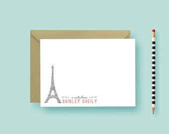 Parisian Personalized Note Cards and Envelopes, Note Cards Stationery, Thank You Notes For Gifts, Stationery Set - PRINTABLE or PRINTED