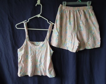 90s Pastel Pink Abstract Print Pajama Set