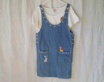 90s Disney Lady and the Tramp Embroidery Twp Piece Jean Dress and T-Shirt