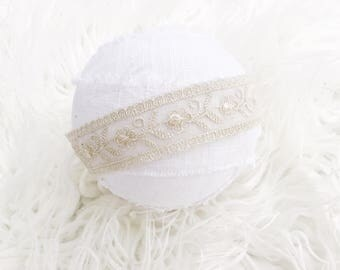 Newborn Photography Prop Headband {Beige Lace}