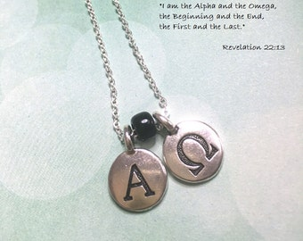 Alpha Omega charm necklace, unisex, silver chain and pewter alphabet charms, black glass bead. Christian gift for man. Other bead colours.