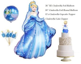 15 Piece Set Complete Cinderella Princess Foil Balloon Cake Topper Cupcake for Princess Birthday Decoration