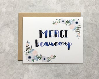 Thank You Card - Floral Merci Beaucoup