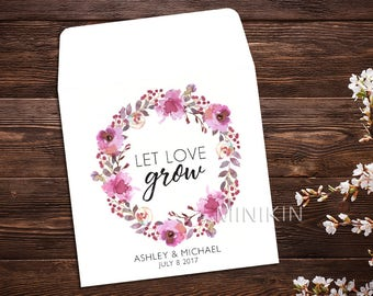 Let Love Grow, Seed Packet Favor, Watercolor Wildflowers, Seed Packet Envelopes, White Wedding Seed Packet, Wedding Favor, Floral x 25