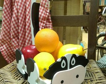 Wooden Cow Banana Hanger & Fruit Basket