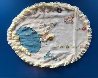 Embroidered Vintage Pillow Cover