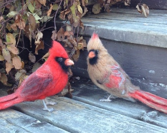 Made to Order Needle Felted Cardinal Bird Pair Male and Female