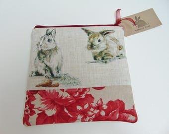 Handmade Rabbit Makeup Bag, Dutch Rabbit, Dwarf Bunny Rabbit, French Floral linen Cosmetics Case