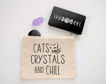 Cats Crystals And Chill Canvas Zipper Bag | Makeup Bag | Cosmetic Bag | Crystal Pouch | Witch Gift | Crystal Lover Gift | Cat Lover Gift